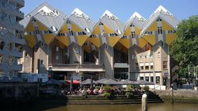 Cube houses. View of cube houses in Rotterdam, Netherlands Stock Images