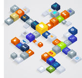 Cube icon diagram of cloud computing and communication network Royalty Free Stock Photo