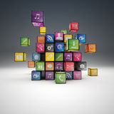 Cube icon set Stock Photos