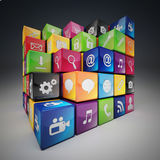 Cube icon set stock illustration