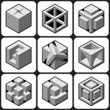 Cube icons Set 4 Stock Images