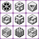 Cube icons Set 6 Royalty Free Stock Photography