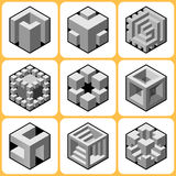 Cube icons Set 7 Stock Photography