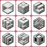 Cube icons Set 8 Royalty Free Stock Images