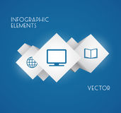 Cube Infographics. Abstract 3D Cube Infographics with flat icons. Vector illustration stock illustration