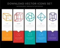 Cube infographics design icon vector. 5 vector icons such as Cube, Squares, Shutter, Diamond, Cylinder for infographic, layout, annual report, pixel perfect icon Stock Images
