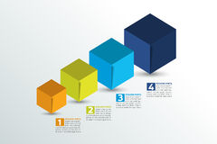 Cube infographics options banner, template, scheme, chart, text layout. Five step design. Stock Photography