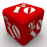 Cube with an inscription 10 percent. Red cube with the inscription 10 percent on a white surface Royalty Free Stock Images