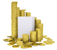 Cube inside a stack of gold coins. Isolated render on a white background Royalty Free Stock Images