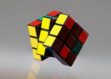 Cube isolated on a grey background. Cube on a grey background Royalty Free Stock Photography