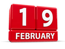 Cube le 19 février illustration de vecteur