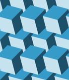 Cube le modèle 3d sans couture Fond bleu monochrome Photos libres de droits