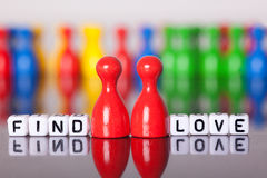 Cube Letters show find love Stock Photo
