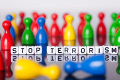 Cube Letters show stop terrorism Royalty Free Stock Photos