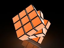 Cube with light images on a black background Royalty Free Stock Photos