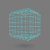Cube of lines and dots. Cube of the lines connected to points. Molecular lattice. The structural grid of polygons. Black backgroun Stock Photos