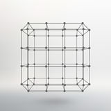 Cube of lines and dots. Cube of the lines. Connected to points. Molecular lattice. The structural grid of polygons. White background. The facility is located on Stock Photo