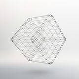 Cube of lines and dots. Cube of the lines. Connected to points. Molecular lattice. The structural grid of polygons. White background. The facility is located on Stock Photography