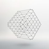 Cube of lines and dots. Cube of the lines. Connected to points. Molecular lattice. The structural grid of polygons. White background. The facility is located on vector illustration