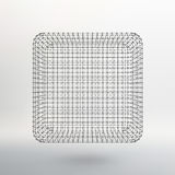 Cube of lines and dots. Cube of the lines. Connected to points. Molecular lattice. The structural grid of polygons. White background. The facility is located on Royalty Free Stock Images