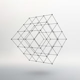 Cube of lines and dots. Cube of the lines. Connected to points. Molecular lattice. The structural grid of polygons. White background. The facility is located on Royalty Free Stock Image