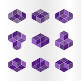 Cube logo concept, vector illustration. Flat design style. Cube construction. Sign pattern. Graphic design. Fashion background abs. Tract texture. Template for Stock Photography