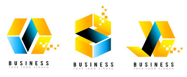 Cube Logo. An illustration of a business company logo representing an abstract cube in blue and orange - yellow colors Royalty Free Stock Photo