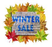 Cube with lot autumn leaf around and word Winter Sale isolated Royalty Free Stock Photo