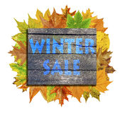 Cube with lot autumn leaf around and word Winter Sale isolated on white Royalty Free Stock Photo
