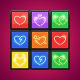 Cube with Love Puzzle. For your romance holiday projects. Each of object is named and placed in a symbol panel. Used neon vector brushes included Royalty Free Stock Photo