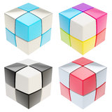 Cube made of colorful cubes isolated, set of four. Cube made of colored glossy cubes isolated on white, set of four Royalty Free Stock Photography