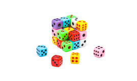 Cube made of colourful dices Royalty Free Stock Image