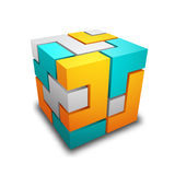 Cube. Made of different shapes Royalty Free Stock Image