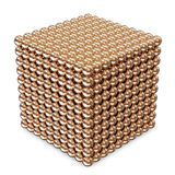 Cube made from Golden Spheres. Abstract Cube made from Golden Spheres on white background Stock Images