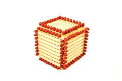 Cube made of matches Stock Images