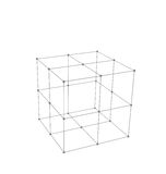 Cube Made is Mesh Polygonal Element Stock Images