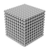 Cube made from Silver Spheres Royalty Free Stock Image