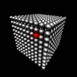 Cube made of small spheres. Isolated three dimensional cube made of metal spheres whith a red selected point Royalty Free Stock Photos