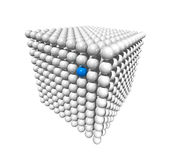 Cube made of spheres. Isolated three dimensional white cube made of spheres whith a blue selected point Stock Photo