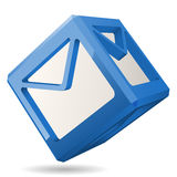 Cube Mail Icon, Vector Illustration. Blue 3D Cube with Mail Icon, Vector Illustration Royalty Free Stock Photo