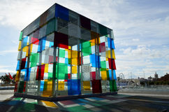 The Cube of Malaga with colorful reflections (horizontal orientation). Malaga, Spain - January 3, 2016: The  colourful Cube of Malaga, in the Centre Pompidou of Royalty Free Stock Photo