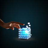 Cube in male hand Royalty Free Stock Photography