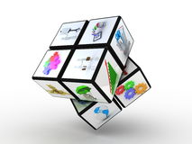 Cube with many images on a white background Stock Image