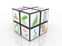 Cube with many images on a white background Stock Photos