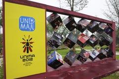 Cube matrix advertisement(21st UNIMA) Royalty Free Stock Image