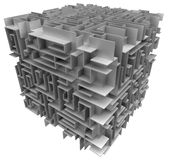 Cube maze. Direction maze on plate. White background Royalty Free Stock Photos