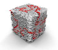 Cube maze (clipping path included) Royalty Free Stock Photography