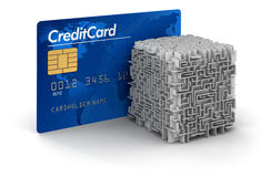 Cube maze and Credit Card (clipping path included) Royalty Free Stock Photo