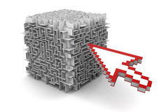 Cube maze and Cursor (clipping path included) Stock Photos