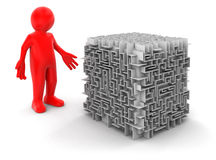 Cube maze and man(clipping path included) Stock Photos